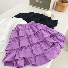 Kids Purple Tutu Australia - Autumn spring girls tutu skirts kids ruffle princess cotton linen skirt baby solid white purple black clothes children 1-6 years