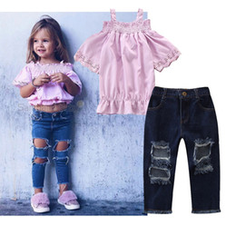 1734d3f2872d 2019 new summer explosion models baby girls strap pink t shirt + hole jeans  2pcs suit kids tops trousers set girl