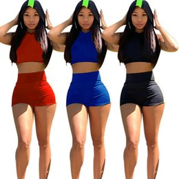 Wholesale sleeveless hooded pullover for sale – custom Women designer piece set crop top sleeveless hooded pullover tshirt bodycon leggings shorts above knee print summer clothing plus size