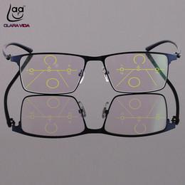 Read top online shopping - Clara Vida Progressive Multifocal Reading Glasses Full rim Titanium Alloy Glasses Frame See Near And Far Top Add to C19042001