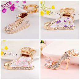 $enCountryForm.capitalKeyWord Australia - Crystal High Heel shoes keychain key rings crystal shoes with Rhinestone Carabiner Keychains handbag Pendant women Shoe jewelry