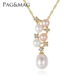 Necklaces Pendants Australia - PAG&MAG Brand Trendy High Quality Jewelry 925 Sterling Silver Necklace With Natural Mix Color Pearl Pendant For Female