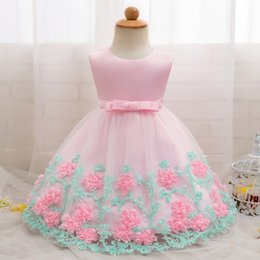 baby wedding dresses year UK - Newborn Baby Girl Dress 2019 New Style Flower Lace Children Wear Dress For Wedding Party Clothing For 0-2 Years Infant Dresses