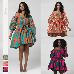 Wholesale bazin african dress resale online - Dashiki African Dresses for Women One Shoulder Girls Party Dress Bazin Clothing Ankara Rich Dress Summer Autumn African Clothing