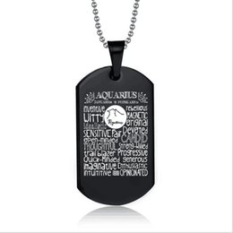 Hot Sale 12 Constellation Aquarius Pisces Leo Black Color Stainless Steel Pendant Necklace For Men Charm Jewelry