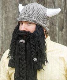 Discount funny ski hats - Men's Handmade Knit Long Beard Viking Horn Hat Funny Crazy Ski Cap Barbarian Cool Beanie Cap Mask Halloween Holiday