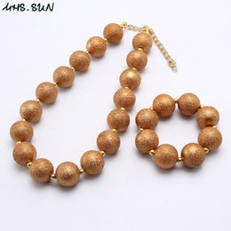 kids jewelry children pearl 2019 - Wholesale Solid Gold Silver Color Girl Kid Chunky Beads Necklace&Bracelet Set Pearl Bubblegum Chunky Beads Necklace Jewe