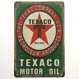 Oil painted metal wall art online shopping - Texaco Motor Oil Vintage Metal Tin sign poster for Garage Pub shabby chic wall Kitchen Cafe Bar home decor Arts