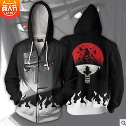 Wholesale naruto itachi uchiha cosplay costume resale online - New Naruto cosplay costume Hoody D print Hoodies Akatsuki Hoodie Naruto Uchiha Itachi cosplay hooded zipper jacket sweatershirt