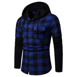 $enCountryForm.capitalKeyWord NZ - 2019 New Fashion Hoodie Long Sleeve Grid Printing Sweatshirts For Men Cotton Splice Sweater Shirt Winter Coat