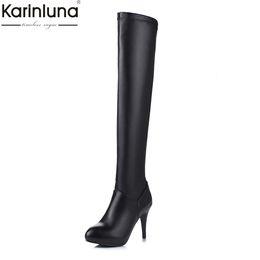 a36a1c54674 Karinluna New Arrivals Dropship Plus Size 33-45 High Heels Platform Over  The Knee Boots Woman Shoes Zip Up Shoes Woman Boots