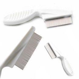 $enCountryForm.capitalKeyWord Australia - 1pc High Comfort Head Lice Comb Metal Nit Head Hair Lice Comb Fine Toothed Flea Flee with Handle For Kids Pet Tool