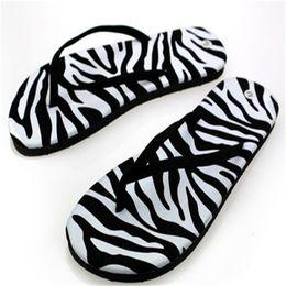 Sandal trend online shopping - Lady PU fashion flat bottom flip flops summer trend stripes graffiti sandals slippers