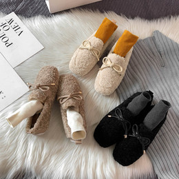 nurses rubber shoes Australia - 2019 Winter Loafers Shoes Woman Moccasins Thicken Lamb Wool Fur Warm Outdoor Ballet Flats Soft Roll Egg Peas Mother Nurse Shoes