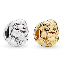 Sterling oval bangle online shopping - 2019 Summer New Real Sterling Silver Bead The Lion King Simba Charm Fit Original Women Pandora Bangle Bracelet DIY Jewelry