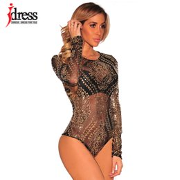 gold sequin leotard Canada - IDress Sexy Body Women Jumpsuits Long Sleeve Sequined Bodysuits Gold Sequin Leotard Bodysuits Embroidery Rompers Women Jumpsuit MX200402