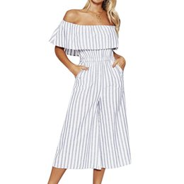 221378c56c8 LITTHING Women 2019 Summer Jumpsuits Sexy Slash Neck Ruffle Mujer Rompers  High Waist Wide Legs Casual Striped Female Bodysuit