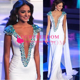 World dresses online shopping - Miss World Beauty Queen Pageant Evening Gowns White Sheath Satin Beading Cap Sleeves Plunging V Neck Prom Gowns Formal Occasion Dresses