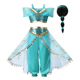 Wigs for summers online shopping - Arabian Fancy Dress up for Girls Sleeveless Sequined Jasmine Cosplay Princess Costume Kids Halloween Set Clothes With Wig JASMINE O