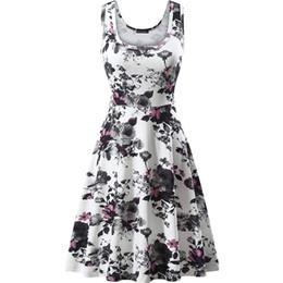 Ladies fLoraL kimono online shopping - Women Dress Women s Summer Casual Lady Print O Neck Floral Vest Sleeveless Beach Dress