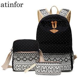 $enCountryForm.capitalKeyWord NZ - Dot Canvas Printing Backpack Women School Back Bags For Teenage Girls Cute Black Set Travel Backpacks Female Bagpack Rucksack Y19061004