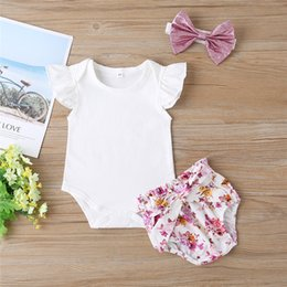 floral print shirts baby UK - Summer Newborn Baby Girl Clothes Short Sleeve Solid T Shirt Tops Bow Floral Print Shorts Headband 3Pcs Outfits Clothes Baby Set