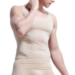 cd3c17fc Sexy Soft Ice Silk Seamless Tank Tops Undershirt Men Breathable Stretch  Summer Cool Fitness Sleeve T Shirt Male Underwear Sleepwear