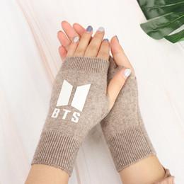 $enCountryForm.capitalKeyWord Australia - 1Pair BTS Bangtan Boys Knitted Gloves Winter Warm Half Finger Gloves Windproof Knitted Fashion Accessories for Women