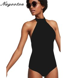 $enCountryForm.capitalKeyWord Australia - One Piece Swimsuit Push Up 2019 Sexy High Neck Swimwear Women Halter Bandage Beach Monokini Floral Print Striped Bathing Suit Y19072501