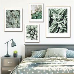 living room art picture abstract NZ - Nordic Modern Green Plants Canvas Painting Wall Art Pictures For Living Room Home Decor Cuadros Decorativos