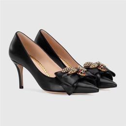 $enCountryForm.capitalKeyWord NZ - 2019 Brand Designer Ladies High Heel Shoes Pointed Toe Bowtie Metal Bee Luxury Shoes Genuine Leather Fashion Pumps New Spring Footwear Shoes