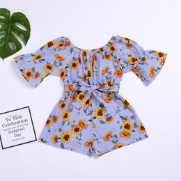 $enCountryForm.capitalKeyWord Australia - Infant Baby Girls Sunflower Romper Floral Jumpsuit Overalls Off Shoulder Boho Beach Playsuit Outfit Sunsuit Kids Girls Clothing