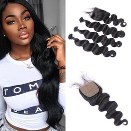 $enCountryForm.capitalKeyWord NZ - Body Wave Silk Closure with 3 Hair Bundles Malaysian 100% Human Hair 4x4 Silk Base Closure with Baby Hair Fast Shipping G-EASY