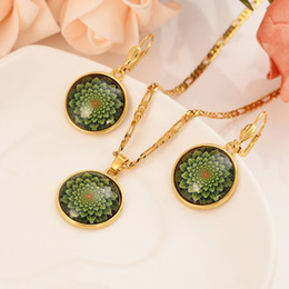 $enCountryForm.capitalKeyWord Australia - New Guinea party sets Christma Dubai India Solid Fine Gold GF Pendant Necklace earrings Women Green Flower Perspective Papua