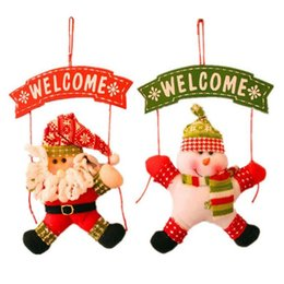 welcome door decorations 2020 - Xmas Welcome Hanging Pendant Santa Claus Snowman Door Christmas Trees Navidad Cute Ornament Party Decorations for Home c