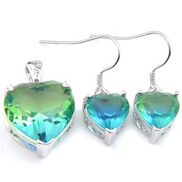 China Luckyshine Wedding Set Heart Earring Pendants Bi colored Tourmaline Crystal Zircon Solid Bride Dangle Earring Pendants supplier solid copper earrings suppliers