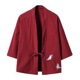$enCountryForm.capitalKeyWord UK - New Arrival 2017 Men's Cotton Linen Blends Vintage Emboridery Cranes Open Front Cardigan Loose Breathable Short Kimono Y19071701