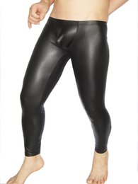 plus size black leather tights 2019 - Sexy Faux Matte Leather Men's Tight Leggings Thin Solid Black Pants Club Wear Skinny Jeans cheap plus size black le
