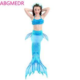 LittLe mermaid cospLay costume online shopping - Girl Swimsuit Kids Swimwear Children Three Piece Swimsuit Girl Blue Ariel Swimming Cosplay Little Mermaid Costume