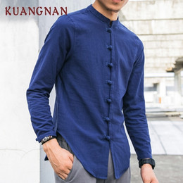 chinese casual clothes Australia - KUANGNAN Chinese Style Men Shirt Long Sleeve Solid Casual Streetwear Men Shirt Man Cotton Linen Shirt Men Clothes 2019 New T190829
