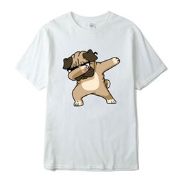 Pug Print shirt online shopping - Men Summer T Shirt Creative Pug Printed Men s Tops Short Sleeve Casual T Shirts cartoon printed hipster short tees