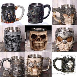 beer mug gifts Canada - 1pcs Creative Skull Mug 450ml  15oz Viking Ram Horned Pit Lord Warrior Beer Stein Tankard Coffee Mug Tea Cup Halloween Bar Gift C19041302