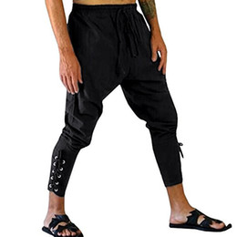 e9a534d9ee64 Men's Ankle Lace-up Banded Pants Casual Loose Costume Pencil Pants Medieval  Renaissance Lounge Loose Pants Bandage Trousers