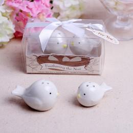 $enCountryForm.capitalKeyWord NZ - Feathering the Nest Ceramic Magpie Birds Salt & Pepper Shaker Seasoning Cans Wedding Favor Baby Shower Gift 2pcs set+DHL Free Shipping