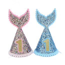 1f73df419bd42 Discount mermaid baby shower - 1pcs 1st birthday party hat Glittering kids  first birthday one year