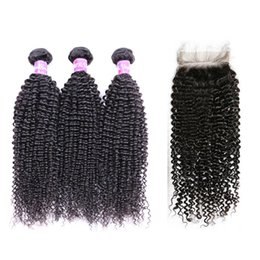 $enCountryForm.capitalKeyWord UK - Brazilian Human Hair Weave Bundles With Closure Buy Remy 3 Kinky Curly Wefts with 4X4 Lace Closure Frontal