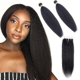 Indian Products Australia - Indian Virgin Hair Kinky Straight Yaki 2 Bundles With 4X4 Lace Closure With Baby Hair Products 8-28inch Natural Color Human Hair