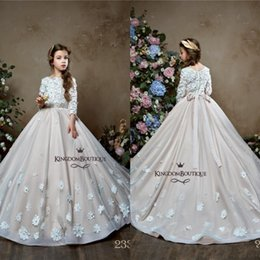 Discount kids yellow ball dress - 2019 Princess Lovely Long Sleeve Flower Girl Dresses with 3D Floral Appliques Pearls Girls Pageant Dress Kids Formal Wea