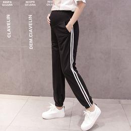 $enCountryForm.capitalKeyWord Australia - Fashion Maternity Sweat Pants Elastic Waist Belly Pants Clothes For Pregnant Women Thin Pregnancy Trousers Maternity