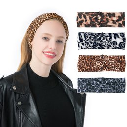 Support Hair Australia - 4 Styles Fashion Hair Band Leopard Cross Hairband Stretch Headband Girl Headwear Women Hair Accessories Support FBA Drop Shipping M291F